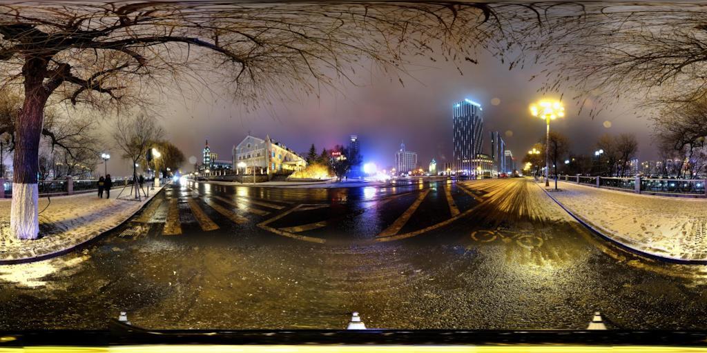 吉林市江城广场雪夜景