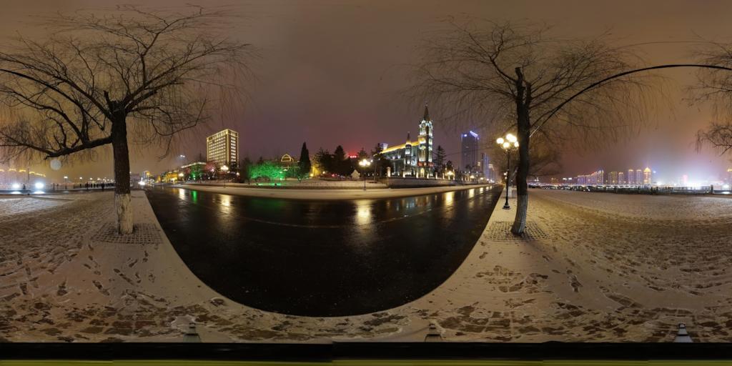 吉林市松花江畔雪夜景