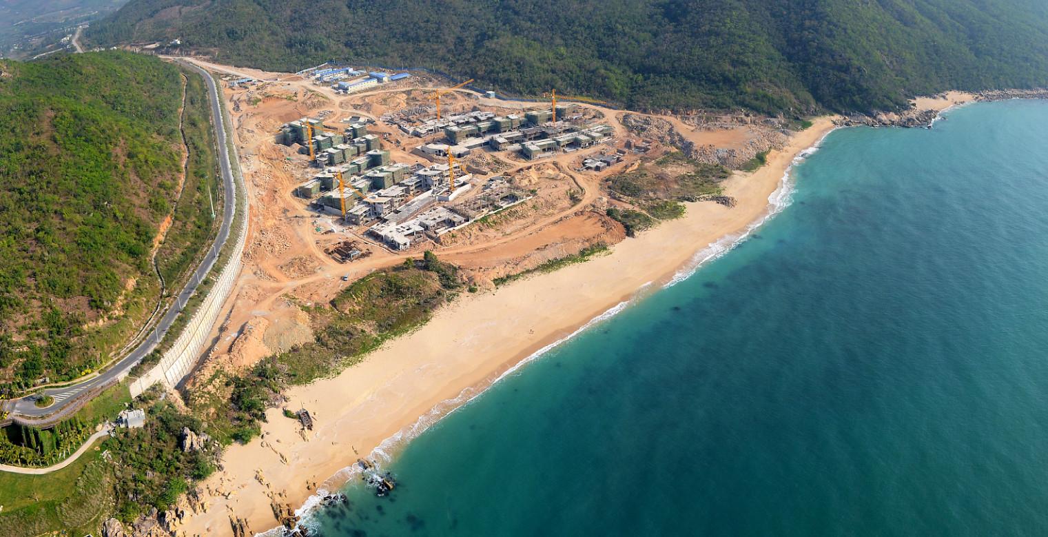 海南三亚三美湾建设工地空中3D多场景全图