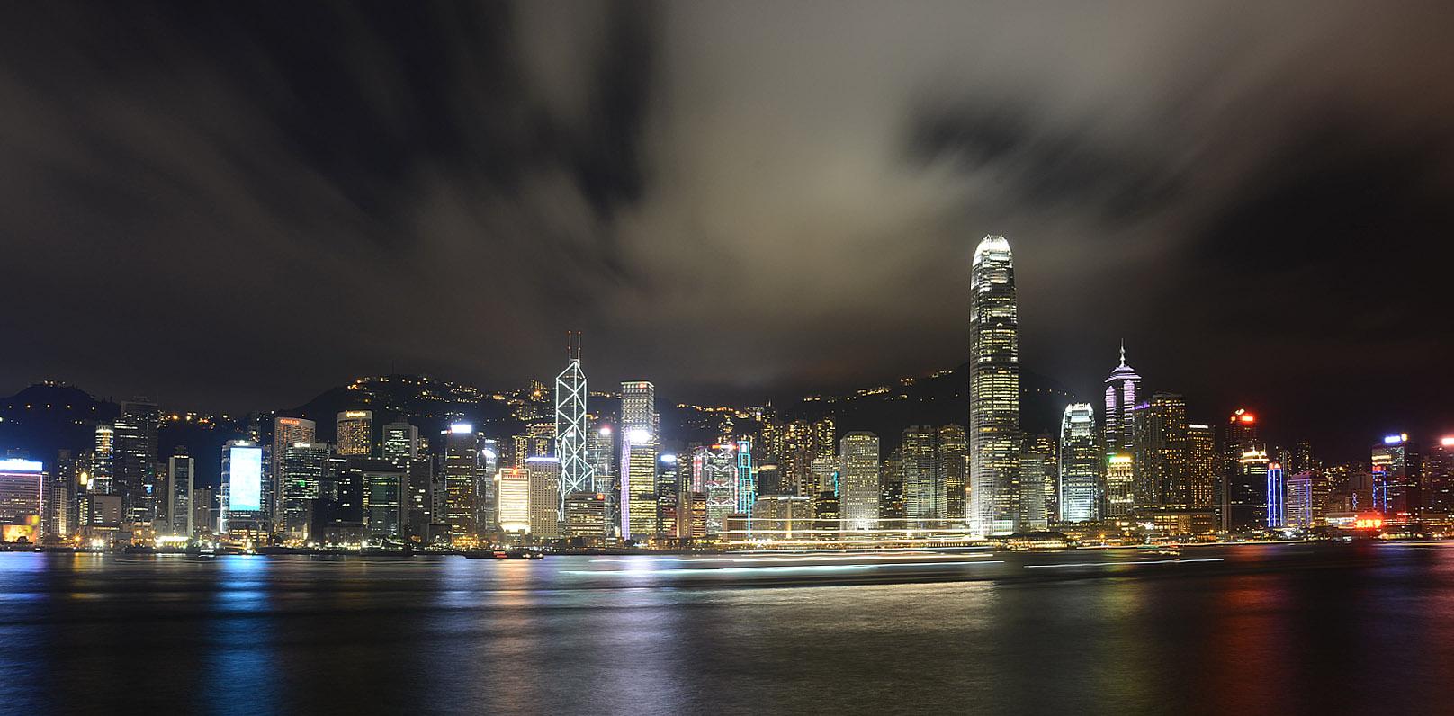 香港岛遥看全景 两幅